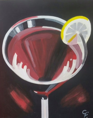 "Jul 20, 2017, Thur, 7-9 pm, ""Cherry Cosmo"" - Wine & Paint Class in Atlanta / Sandy Springs"