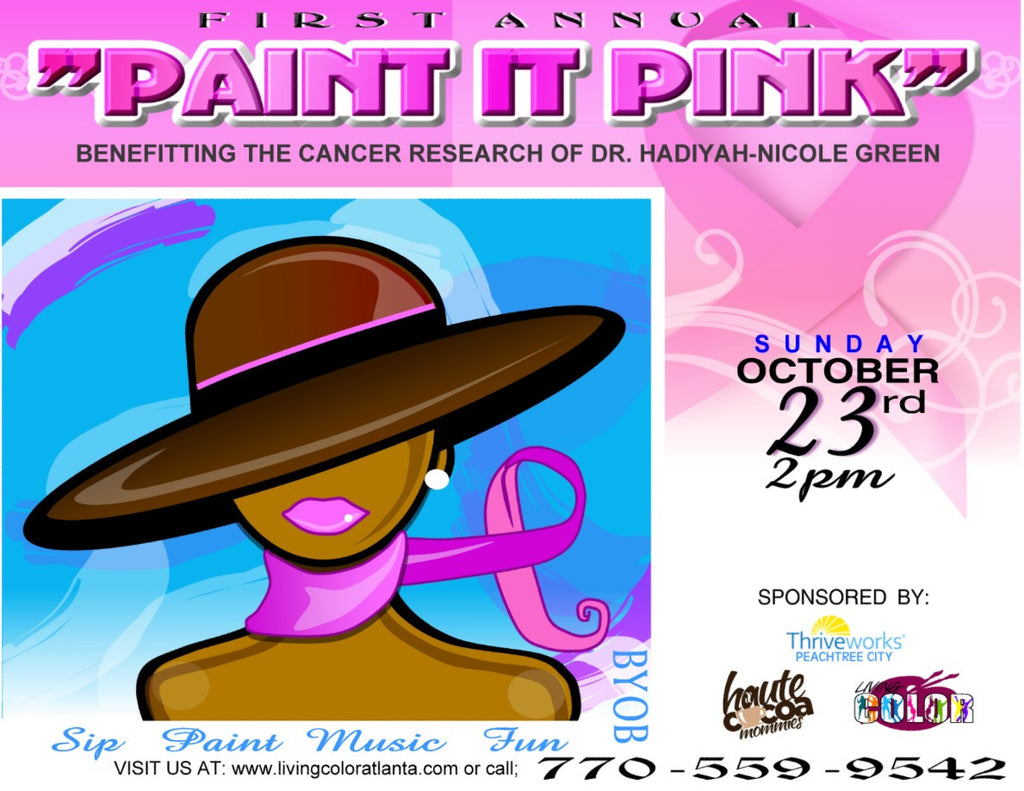 "Oct 23, 2016, Sun, 2-4:30 pm, ""Paint it Pink Cancer Research Fundraiser"" Public Wine & Paint Class in Atlanta / Sandy Springs"