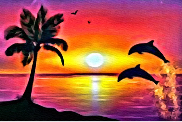 "Sep 19, 2017, Tue, 7-9 pm, ""Tropical Daydream"" Public Wine & Paint Class in Atlanta / Sandy Springs"