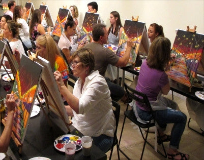 "Jul 13, 2017, Thur, 7-9 pm, ""Rainy Night""  Public Wine & Paint Class in Atlanta / Sandy Springs"