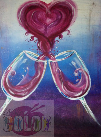 "Feb 14, 2018, Wed, 7-9:00pm, ""Love Is In The Air"" Public Wine & Paint Class in Atlanta / Sandy Springs"
