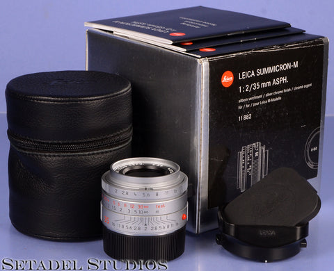 LEICA 35MM SUMMICRON-M F2 6BIT 11882 ASPH CHROME M LENS +BOX +CAPS +SHADE MINT