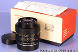 LEICA LEITZ 35MM SUMMICRON-R F2 1ST V 2CAM BLACK R LENS +BOX +CAPS CLEAN