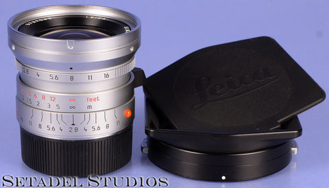LEICA LEITZ 24MM ELMARIT-M F2.8 ASPH 11898 6BIT CHROME LENS +12592 SHADE. MINT!