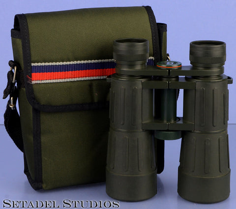 BRESSER LINEAR CONDOR 10X42 96M/1000FT MILITARY GREEN RUBBER BINOCULARS +CASE