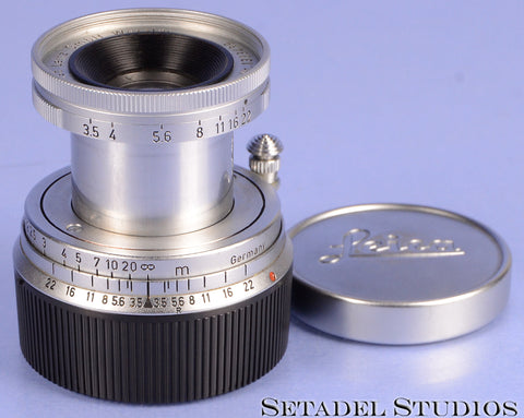 LEICA LEITZ 50MM ELMAR F3.5 11110 CHROME COLLAPSIBLE M LENS +CAPS RARE CLEAN