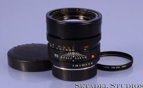 LEICA LEITZ 90MM SUMMICRON-R F2 3CAM 11219 BLACK R LENS W/ CAPS +E55 UVa FILTER