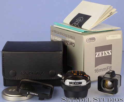 CONTAX ZEISS HOLOGON 16MM F8 T* TITANIUM G LENS +VIEWFINDER +FILTER +BOX MINT!