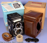 ROLLEI ROLLEIFLEX 3.5F PLANAR WHITE FACE TLR CAMERA +BOX +PAPERS +MORE MINT WOW!