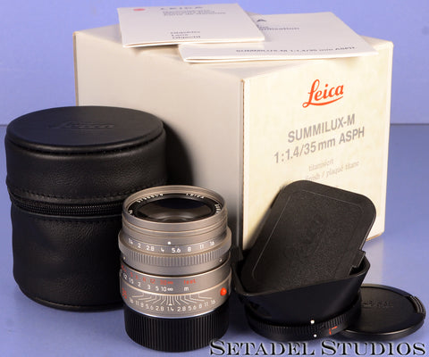 LEICA 35MM SUMMILUX-M F1.4 11859 ASPH TITANIUM M LENS +BOX +CAPS +SHADE MINT