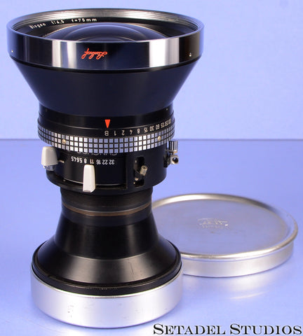 LINHOF SELECT CARL ZEISS 75MM BIOGON F4.5 LENS +CAPS VERY NICE! LAST VERSION!