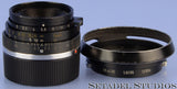 LEICA LEITZ 35MM F2 SUMMICRON M 2ND V 11309 BLACK LENS +12504 SHADE +REAR CAP