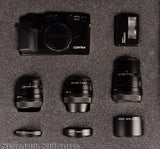 CONTAX G2 BLACK CAMERA SET +28MM +45MM +90MM LENSES +FLASH +SHADES +CASE RARE