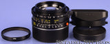 LEICA 35MM F2 SUMMICRON-M 4TH V GERMAN M BLACK LENS KING OF BOKEH +FILTER +SHADE