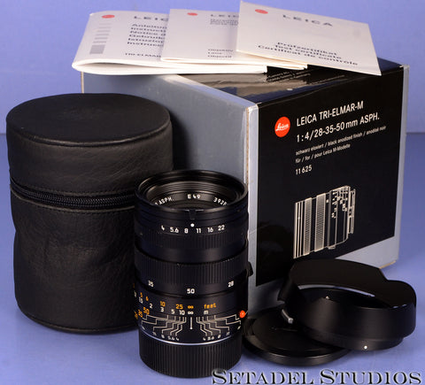LEICA VER II 28-35-50MM TRI-ELMAR-M F4 ASPH 11625 BLACK M LENS +BOX +CAPS MINT!