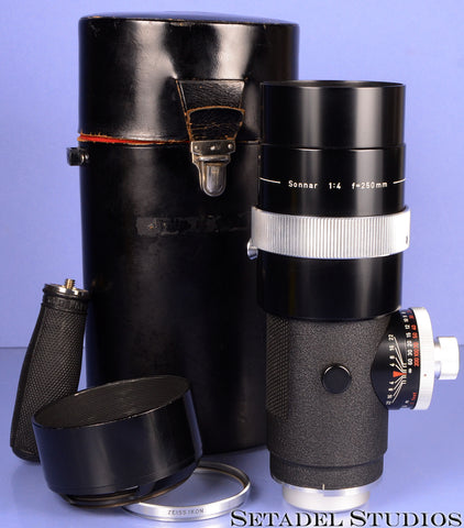 CONTAREX ZEISS OLYMPIA SONNAR 250MM F4 LENS W/ CASE +CAPS +STOCK +FILTER +SHADE