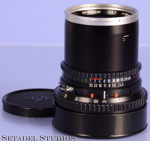 HASSELBLAD ZEISS 105MM UV-SONNAR F4.3 C BLACK LENS +CAP RARE ONLY 73 MADE