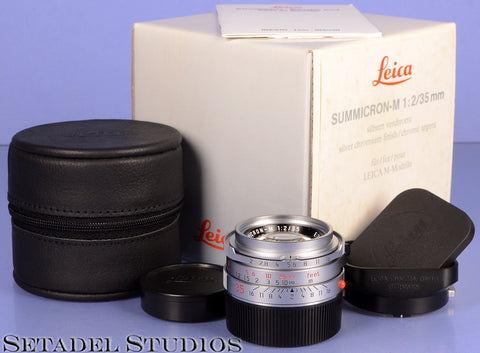 LEICA LEITZ 35MM SUMMICRON-M F2 CHROME 4TH VERSION 11311 LENS +BOX +SHADE MINT!