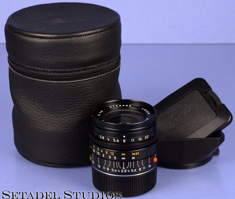 LEICA LEITZ 28MM ELMARIT-M F2.8 4TH V 11809 BLACK M LENS +CASE+SHADE +CAP NICE