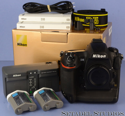 NIKON D5 20.8MP BLACK DSLR CAMERA BODY +BOX +x2 BATTERIES MINT! 14500 SHOT!