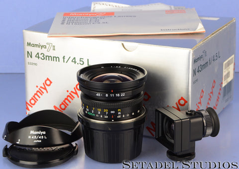 MAMIYA 7 7II N 43MM F4.5 L BLACK LENS W/ BOX +SHADE +FINDER COMPLETE! MINT!