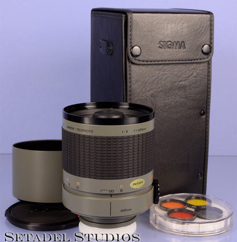 Sony Minolta fit Sigma 600mm f8 Mirror Super Telephoto Lens with Case +Filters