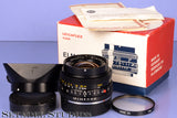 LEICA 28MM ELMARIT-R F2.8 2CAM 11204 BLACK R LENS +BOX +12509 SHADE +CPS +FILTER