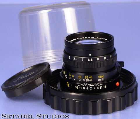 LEICA LEITZ 50MM SUMMICRON-M F2 BLACK M LENS +CASE +CAP NO SERIAL # PROTOTYPE