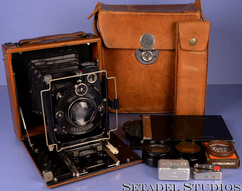 ZEISS IKON FAVORIT 266/1 WOODEN FOLDING BED CAMERA +JENA TESSAR 150MM F4.5 +MORE
