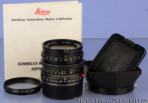 LEICA LEITZ 35MM SUMMILUX-M F1.4 DOUBLE AA ASPHERICAL 11873 LENS +SHADE +UVa WOW