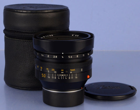 LEICA LEITZ 50MM NOCTILUX-M F1 BLACK M 11822 4TH VER E60 LENS +CAPS +CASE NICE!