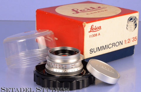 LEICA LEITZ SUMMICRON 35MM F2 CHROME M 8 ELEMENT 1st VERSION LENS +CAP +BOX WOW!