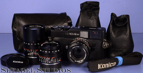 KONICA HEXAR RF BLACK RANGEFINDER CAMERA OUTFIT +28/50/90MM LENSES +CASES CLEAN