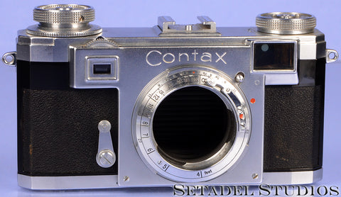 CONTAX IIA BLACK DIAL CHROME RANGEFINDER CAMERA BODY CLEAN