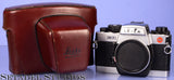 LEICA LEITZ R7 CHROME SLR FILM CAMERA BODY 10202 +RED CASE +CAP CLEAN NICE