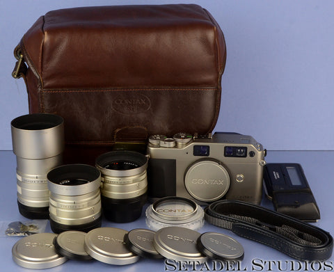 CONTAX G1 35MM FILM RANGEFINDER CAMERA OUTFIT +28/45/90MM LENSES +BAG COMPLETE!
