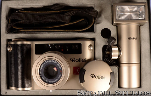 ROLLEI QZ 35T PORSCHE POINT AND SHOOT FILM CAMERA OUTFIT +BOX +CASE +FLASH MINT