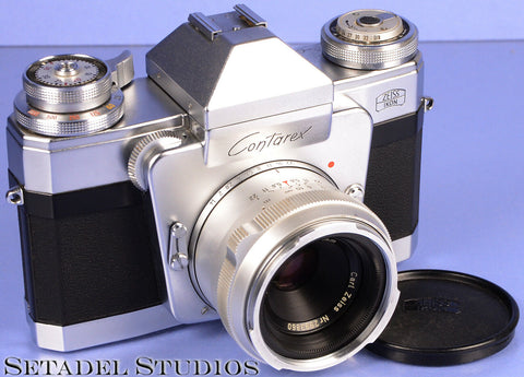 CONTAREX SPECIAL CHROME FILM SLR CAMERA +50MM TESSAR F2.8 LENS +CAP CLEAN!