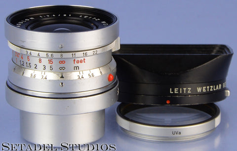 LEICA LEITZ 21MM SUPER-ANGULON F3.4 CHROME M 11103 LENS +CAPS +SHADE +UVA FILTER