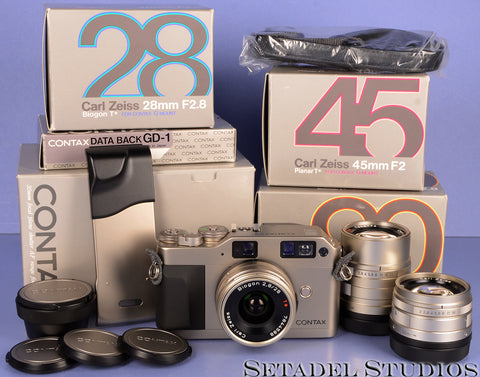 CONTAX G1 35mm FILM RANGEFINDER CAMERA OUTFIT +28/45/90MM LENSES +BOXES +CAPS