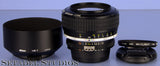 NIKON 58MM NOCT-NIKKOR F1.2 AIS BLACK NOCTILUX LENS +CAPS +SHADE +FILTER MINT