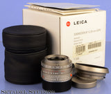 LEICA LEITZ 35MM SUMMICRON-M F2 ASPH 11609 TITANIUM LENS +BOX +CAPS +SHADE MINT