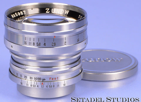 LEICA F/ SM TEIKAKU KOGAKU ZUNOW OPTICS CHROME 50MM F1.1 LTM LENS +CAPS MINT