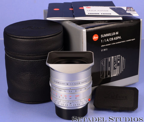 LEICA NEW LIMITED 28MM SUMMILUX-M F1.4 ASPH 6BIT 11911 SILVER CHROME LENS +BOX