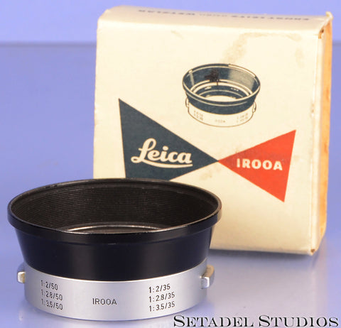 LEICA LEITZ IROOA 35MM 50MM SUMMARON SUMMICRON LENS SHADE +BOX CLEAN MINT!