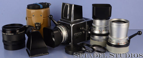 HASSELBLAD 500C CM CHROME CAMERA OUTFIT +3 LENSES 50MM 80MM 150MM +FINDER NICE!
