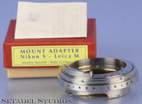 AMEDEO MUSCELLI NIKON S LENS TO LEICA M CAMERA ADAPTER RING +BOX MINT