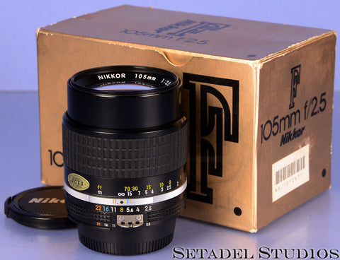 NIKON NIKKOR 105MM F2.5 AIS LENS +BOX +CAPS CLEAN