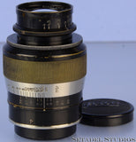 LEICA LEITZ ELANG 90MM ELMAR F4 FAT 1ST V BLACK NICKEL SM LENS +CAPS CLEAN NICE