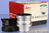 LEICA 21MM SUPER-ANGULON F3.4 CHROME M 11103 LENS +VIEWFINDER +CAPS +SHADE +BOX